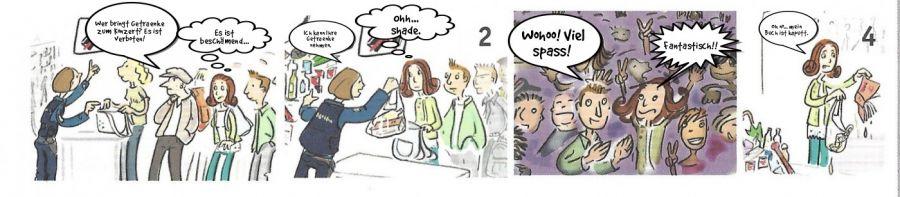 Wer bringt Getraenke zum Konzert? Es ist verboten!  | phrase.it